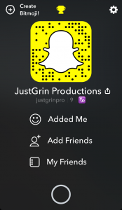 Just Grin Productions Snapchat