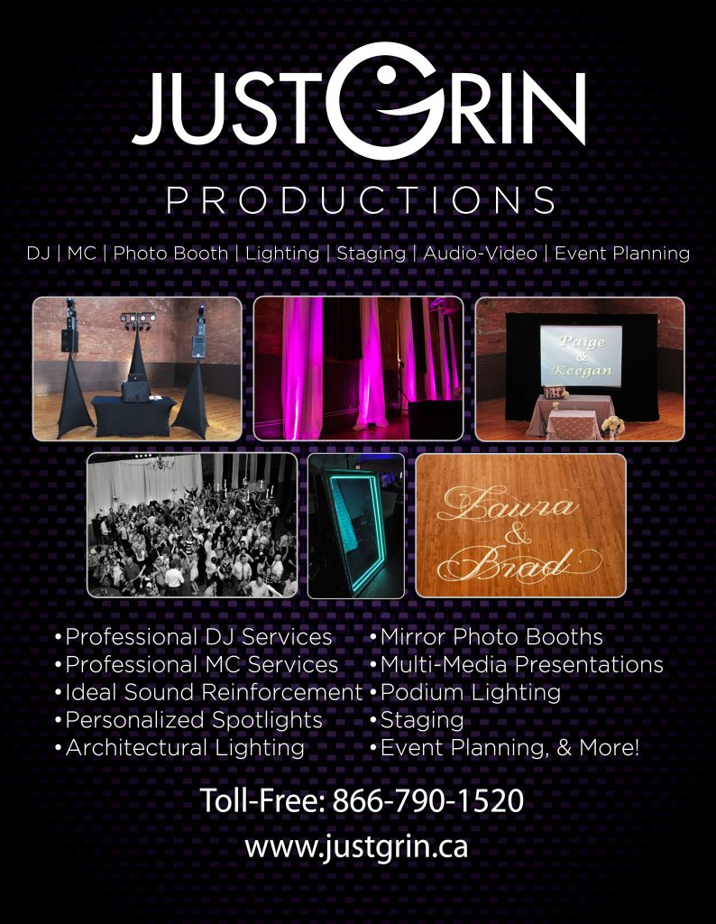 Professional DJ, Professional MC, Wedding DJ, Wedding Entertainment, Wedding Entertainer, Just Grin Productions, www.justgrin.ca, DJ Waylan, Kitchener DJ, Cambridge DJ, Waterloo DJ, Chatham DJ, Chatham Kent DJ, Kitchener Wedding DJ, Waterloo Wedding DJ, Cambridge Wedding DJ, Chatham Wedding DJ, Chatham-Kent Wedding DJ, DJ Service, Wedding DJ Service, Mirror Photo Booth, Photo Booth, Wedding Photo Booth